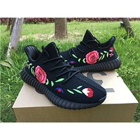 Best Online Sale Kanye West x Adidas Yeezy 350 V2 Boost Embroidery Rose Flower Sport Shoes Running Shoes
