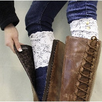Lace boot cuffs, topper, leg warmer,lacy, sock, white stretch lace | LC1