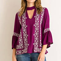 Embroidered Top with Circular Flounce Sleeves