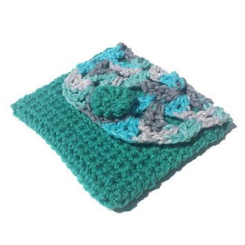 Teal Blue Gray Handmade Crochet Pouch Fabric Interior Boho Crocheted Cosmetic Makeup Clutch Bag Lined Bags & Purses Womens Gift Woman Purse