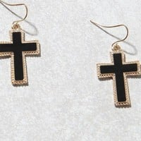 LA Hearts Dark Cross Earrings at PacSun.com