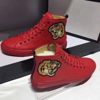 hcxx GG leather men high top sneaker shoe in red , white and black with lion embroidering