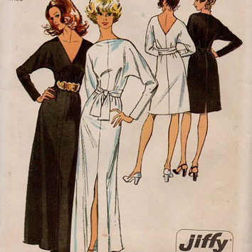 Simplicity 70s Sewing Pattern Evening Gown Cocktail Dress Disco Fashion Deep V Back Neck Sexy Skirt Slip Fitted Dress Uncut FF Bust 34