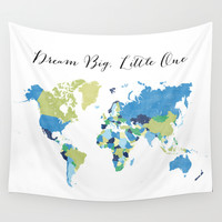 Dream big little one world map in blue, lime green & navy blue Wall Tapestry by BlursbyaiShop