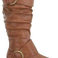 TAN FAUX LEATHER MID-CALF PULL ON FLAT BOOTS