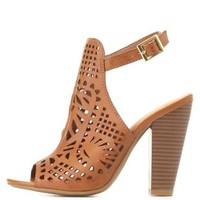Bamboo Laser Cut-Out Slingback Heels by Charlotte Russe - Cognac