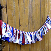 Americana rag garland, rustic, patriotic decor, primitive,photo prop, swag, summer party, stars and stripes, red white and blue