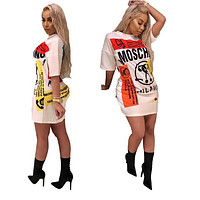 ''MOSCHINO'' Women Short Sleeve Print Pattern Dress