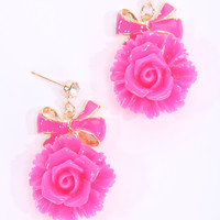 Fuchsia Lacquer Finished Floral Dangle Earrings