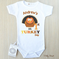 Adorable Thanksgiving Baby Outfit. My First Turkey Day Baby Bodysuit With Cute Turkey Print. Personalized Baby Turkey Romper. White and Mint