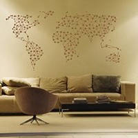 ik1348 Wall Decal Sticker world map Bedroom Living Room