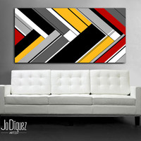 """Original abstract painting. 24x48"""" Geometric canvas art with red and yellow. Modern wall art. Large painting."""