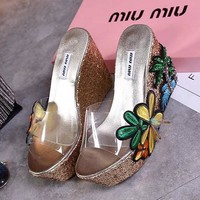 MIU MIU Women Fashion Casual Heels Shoes Sandals Shoes-1