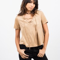 Boxy Suede Lace Up Tee