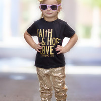 Sparkle Sequins Glitter Pants Yellow Gold