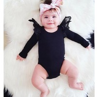 Baby Rompers For Girls Clothes Long Sleeve 4 Colors White Black Pink Striped Lace Baby Girl Clothes Newborn Baby Girl Clothes