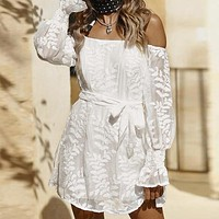 Embroidery Short Party Dress Elegant Women Dress Bow Long Sleeve Casual Dress
