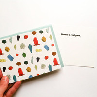 Gem Card // Set of 4 Flat Cards perfect for everyday // A2 size with blue envelopes