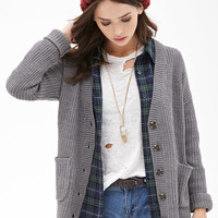 Slouchy Ribbed Knit Cardigan