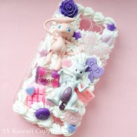 Custom Kawaii Pokemon Mew and Mewtwo Evolution Decoden Phonecase for Iphone 4/4s 5, Samsung Galaxy S5 S3 S4, HTC One