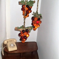 Swag Lamp Grape cluster Lucite Acrylic with triple Amber Lucite Grapes bunch, Kistch