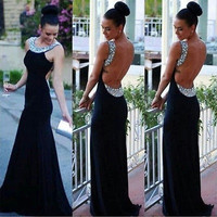 Women Fashion Elegant Lace Dress Cocktail Ball Gown Party Exposed Backless Dress = 1931390340