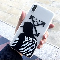 Off White Fashion New Letter People Arrow Print Women Men Phone Case Protective Cover