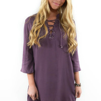 Perfect Pick Plum Solid Lace Up Dress