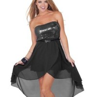 Sequin High Low Strapless Homecoming Prom Teen Party Quinceañera Dress
