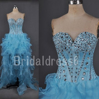 Beads Sequins Blue Sweetheart Strapless high low Long Bridesmaid Celebrity Dress,Organza Formal Evening Party Prom Homecoming Dress