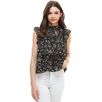 Floral Lace Inset Two Tiered Flutter Sleeves Top