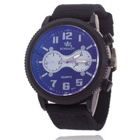 Mens Boys Black Canvas Leather Strap Watch Army Style Watches +  Beautiful Gift Box