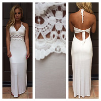 White Halter Backless with Crochet Patch Maxi Dress