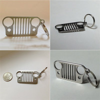 New Arrival Car Key Chain Stainless Steel grill KeyChain Key Ring for Jeep Grill  CJ JK TJ YJ XJ Hot Selling