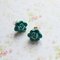Lagoon Blue Flower Post Earring. Summer. Spring. Fashion. Delicate. Floral. Jewelry. Weddings. Bridesmaids. Mother's Day.