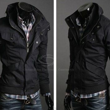 Handsome Slimming Stand Collar Long Sleeves Zipper Cotton Blend Casual