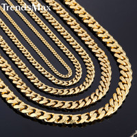 3/5/7/9/11mm Gold Plated Curb Link Chain Stainless Steel Necklace Boys Mens Chain Jewelry KNM08