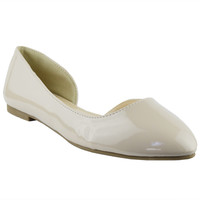 Womens Ballet Flats Patented Leather Peep Toe Slip On Dress Shoes Nude