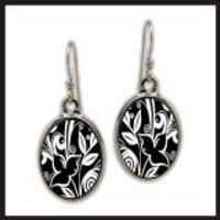 Flower Black Sterling Oval Earrings - Spirit Lala Store