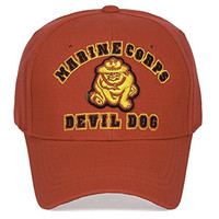 United States Marine Corps Devil Dog Red Velcro Adjustable Cap