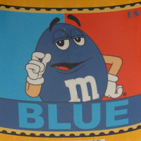 """M&Ms Blue Stamp Blanket 50"""" x 60"""" Plush Throw Polyester Thick Fleece Soft Large"""
