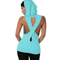 Fitness Cross Back Sport T Shirt Women Breathable Sleeveless Sportswear Hooded Tops