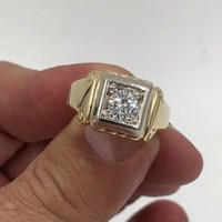 Mens Vintage Art Deco 14K Yellow Gold Diamond Solitaire Ring .80cts SI1