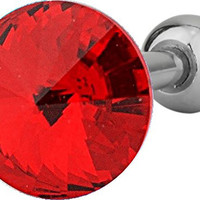 """16g Surgical Steel 1/4"""" Cartilage Piercing Red Crystal Stud Barbell"""
