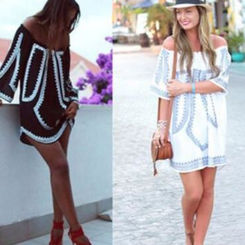 Aliexpress is a hot seller of off-the-shoulder dresses with loose, seven-point sleeves and a plunging neckline in digital prints
