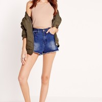 Missguided - Petite Exclusive 90s Rib Crop Camel