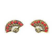 Hand Fan Post Earrings Antique Gold Tone Red Crystal Studs EF70 Fashion Jewelry