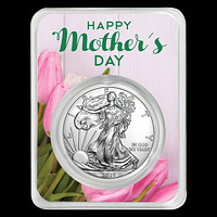 2019 1 oz Silver American Eagle - Mother's Day Tulips