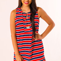 Independence Dress in Navy/Red