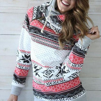 Casusal Print Hooded Sweater  B0013494